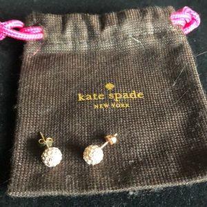 Kate Spade rose gold tone earrings w/rhinestones